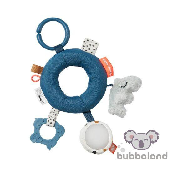 Done by Deer kék karikás fejlesztő játék babáknak
