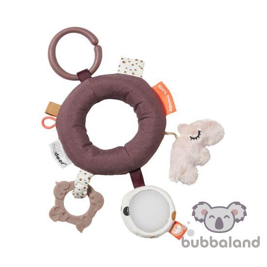 Done by Deer púder rózsaszín karikás fejlesztő játék babáknak
