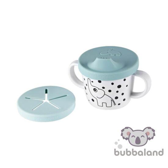 pöttyös elefántos csőrös pohár kék színben Done by Deer Happy Dots