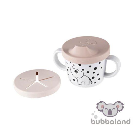 pöttyös elefántos csőrös pohárl púder rózsaszín Done by Deer Happy Dots