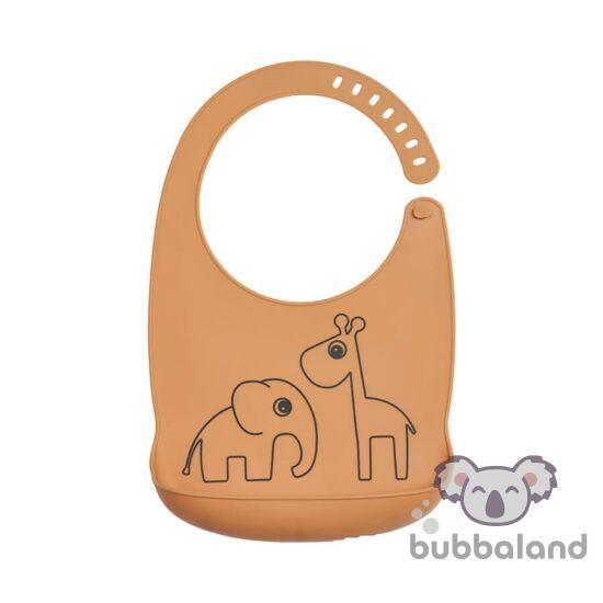 vízhatlan, szilikon előke babáknak szürke Elphee az elefánt és Raffi a Zsiráf mintával
