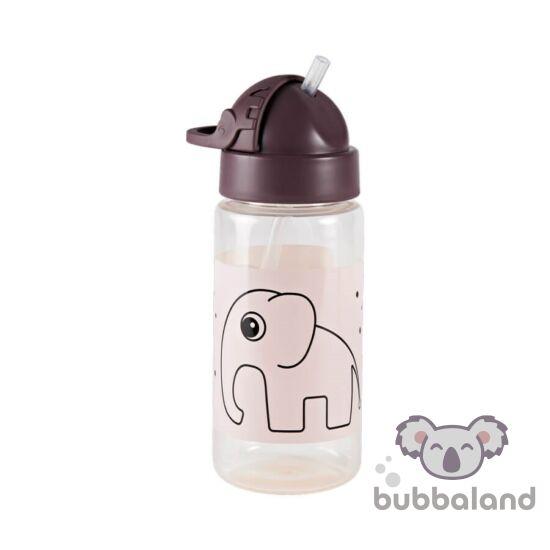 Púder rózsaszín csöpögésmentes szívószálas itatópohár babáknak Done by Deer Elphee az elefánt mintával
