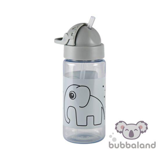 szürke csöpögésmentes szívószálas itatópohár babáknak Done by Deer Elphee az elefánt mintával