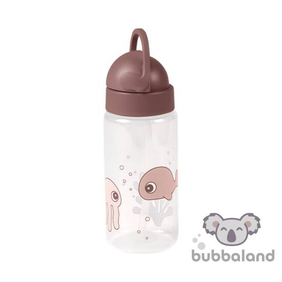 Púder rózsaszín csöpögésmentes szívószálas itatópohár babáknak Done by Deer Sea Friends tengeri halacska és medúza mintával