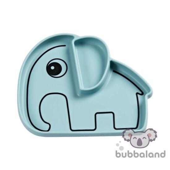 Elphee szilikon tapadós tányér babáknak kék színben Done by Deer