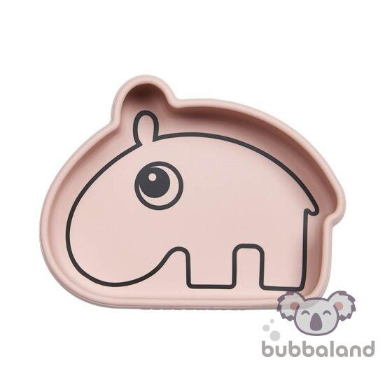 Ozzo a víziló szilikon tapadós tál babáknak rózsaszín Done by Deer