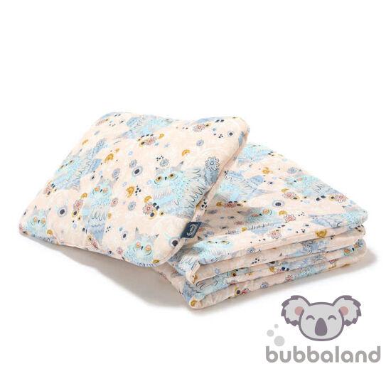 baba ágynemű szett töltettel és kispárnával 80x100 cm szürke-rózsaszín álmos baglyok Sleepy Owls