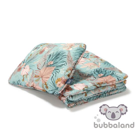 ovis ágynemű szett töltettel 100x135 cm kék-rózsaszín trópusi pálmalevél és virág mintával La Millou Boho Palms