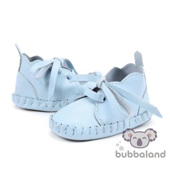 babakék bőr babacipő, kocsicipő járni nem tudó babáknak 0-6 hónapos korig