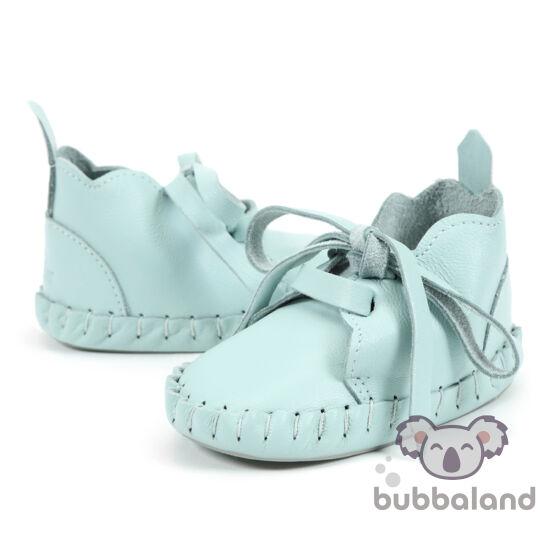 menta zöld színű bőr babacipő, kocsicipő járni nem tudó babáknak 0-6 hónapos korig