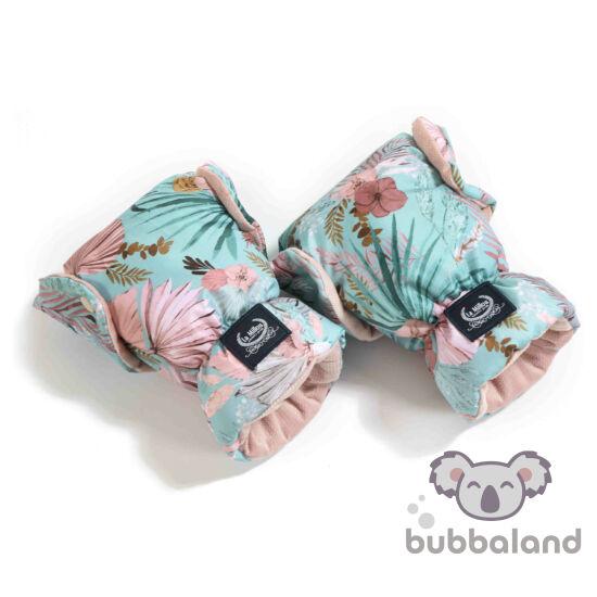 velvet hamvas rózsaszín babakocsi kesztyű világoskék trópusi virág és pálmalevél mintával La Millou Boho Palms