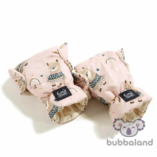 babakocsi bundakesztyű pink és fehér színben szívárványos mintával Rainbow baby