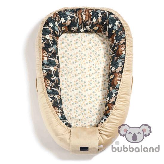 Állítható XXL méretig növelhető Babafészek homok színű velvet anyaggal sötétbarna erdő és mókus mintás La Millou Pretty Barbara