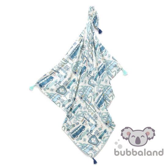 vékony nyári bambusz baba takaró 120x100 cm kék és fehér színekben autó mintával Amerika Route 66 Colour