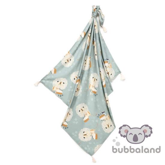 vékony nyári bambusz baba takaró 120x100 cm kék doboló oriszlán mintával Wild Cats Stone