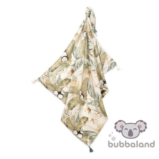 vékony nyári bambusz baba takaró 120x100 cm khakizöld és bézs színben egzotikus kókusz, majom és trópusi pálma mintával Boho Coco