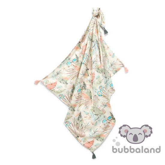 vékony nyári bambusz baba takaró 120x100 cm menta és rózsaszín trópusi pálmaleveles Boho Girl