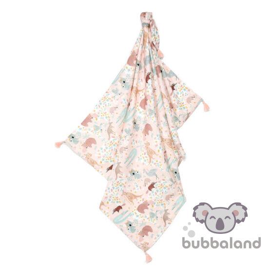 vékony nyári bambusz baba takaró 120x100 cm rózsaszín és menta ausztráliai állatok vombat, kenguru, koala, krokodil Dundee Pink