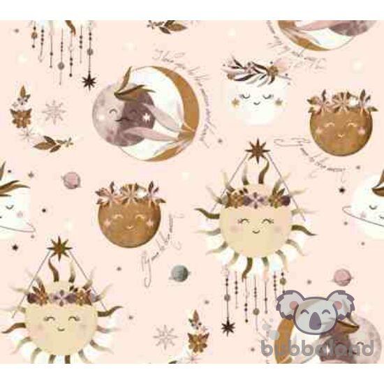 felhúzható zenélő játék babáknak púder rózsaszín Nap, Hold és bolygó mintával La Millou Fly me to the Moon Nude