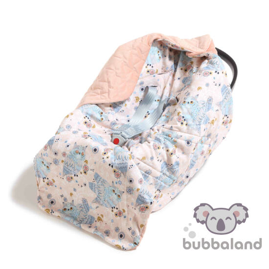 hordozós takaró babakocsi takaró púder rózsaszín velvet kék álmos bagoly mintával La Millou Sleepy Owls