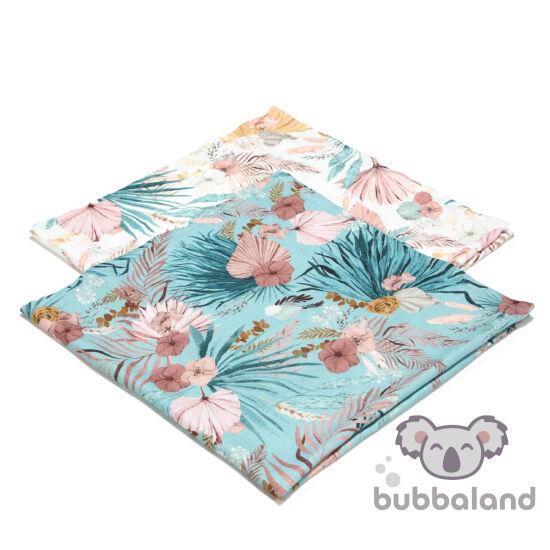 2 darabos textil pelenka bambusz anyagból rózsaszín-kék trópusi pálmalevél és virág mintás La Millou Boho Palms