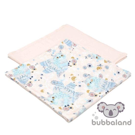 2 darabos textil pelenka pamut muszlin szürke és rózsaszín álmos baglyok La Millou Sleepy Owls