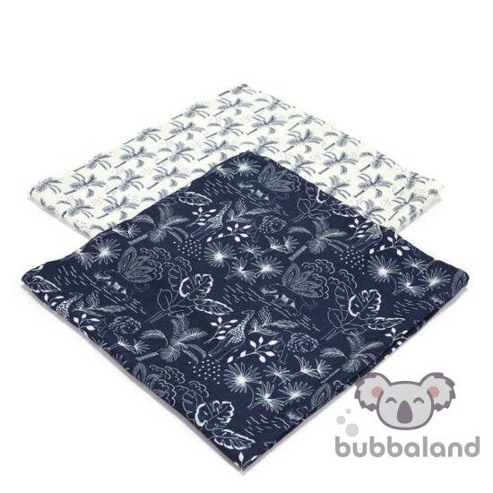 2 darabos textil pelenka bambuszból sötétkék, fehér színekben trópusi szafari dzsungel mintával, zsiráf, oroszlán és párduc Navy Jungle