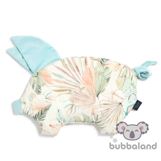 lapos baba párna röfi alakú menta és rózsaszín trópusi pálma leveles mintával Boho Girl