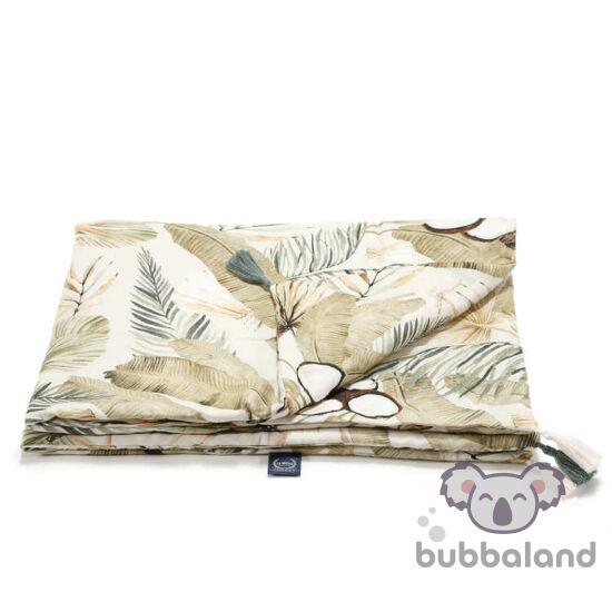 tavaszi-nyári bambusz baba takaró töltettel krém és khaki zöld színben trópusi pálma és majom mintával