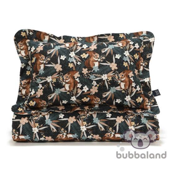 felnőtt méretű ágynemű szett töltettel bézs-barna erdei mókus és virág mintával La Millou Pretty Barbara