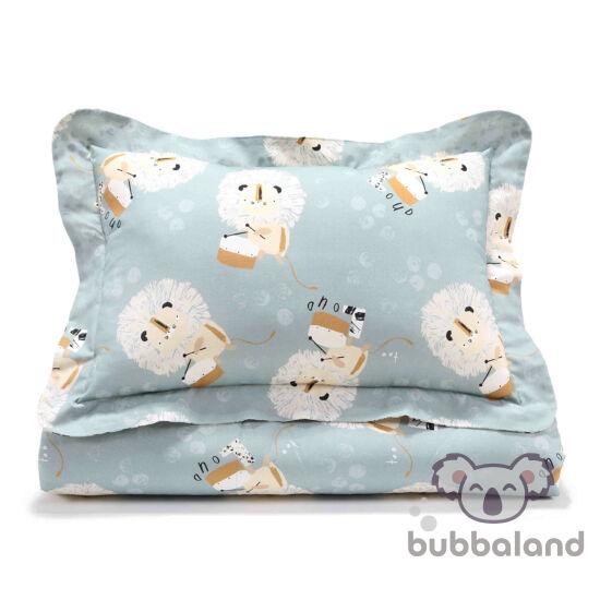 felnőtt méretű ágynemű szett töltettel világoskék és fehér színekben doboló oroszlán mintával fekete-fehér pöttyös Wild Cats Stone