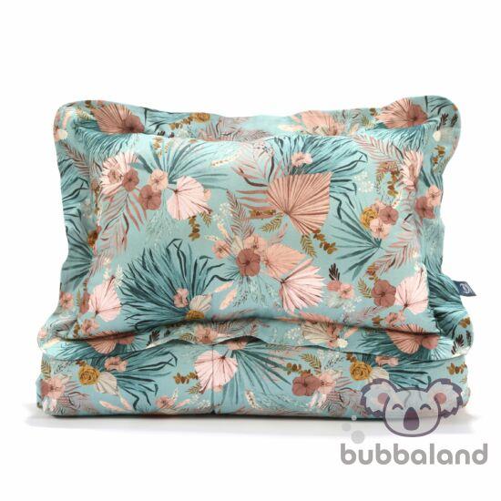 tinédzser ágynemű szett töltettel felnőtt méretben 150x200 cm-es takaróval és párnával kék-rózsaszín trópuis virág és pálma mintával La Millou Boho Palms