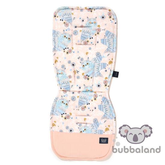 babakocsi betét púder rózsaszín velvet és pamut jersey anyagból álmos baglyok mintával La Millou Sleepy Owls
