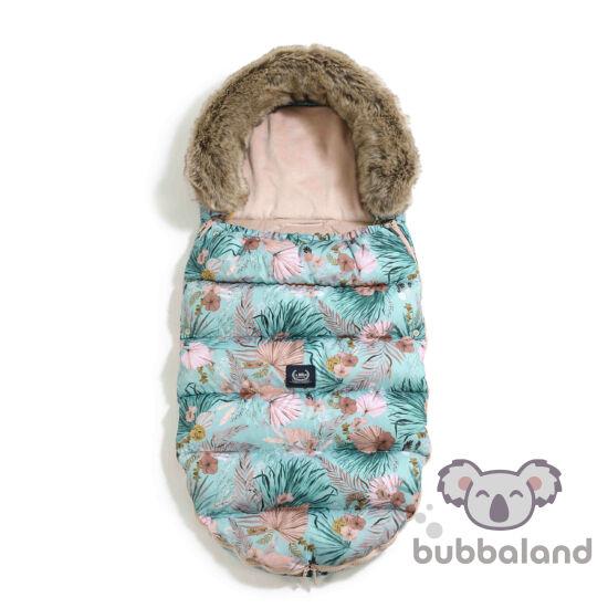 hamvas rózsaszín velvet baba bundazsák levehető szőrmével világoskék pálmalevél és virág mintás La Millou Boho Palms