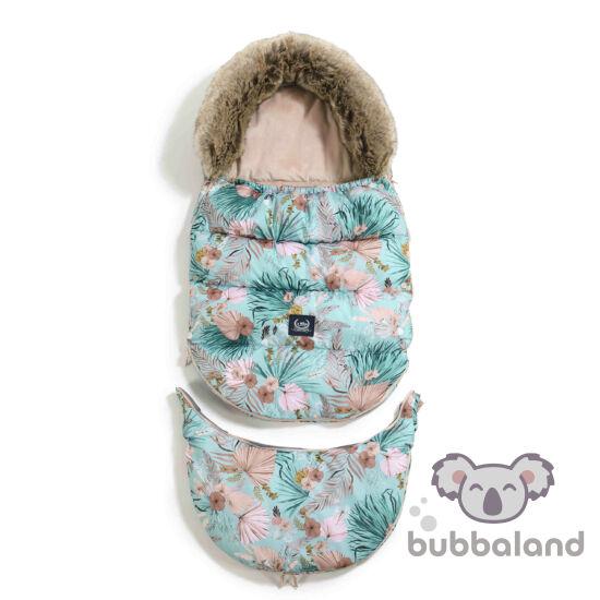 bundazsák állítható méretben 0-3 éves kor között használható prémium velvet anyagból rózsaszín velvet kék pálma és egzotikus virág Boho Plams La Millou