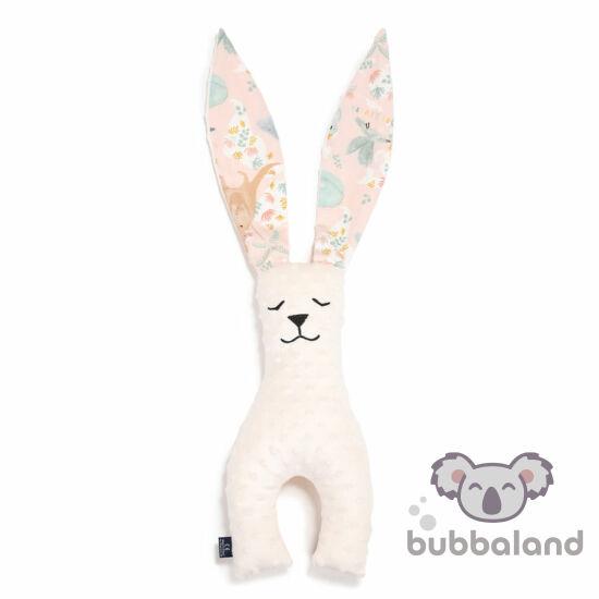 nyuszi alakú alvóka, plüssjáték és szundikendő egyben 23 cm magas ekrü rózsaszín állat mintás fülekkel