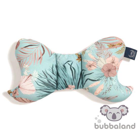pillangópárna pamut jersey és velvet bársony anyagból hamvas rózsaszín kék trópusi pálmalevél és virág mintával La Millou Boho Palms