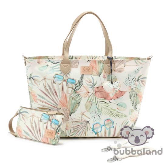nagy méretű pelenkázó táska rózsaszín és menta színben egzotikus pálma levél és retró napszemüveg mintával