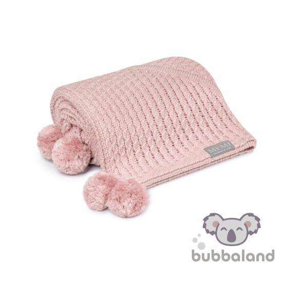 kapucnis babatakaró bambuszból vidám pomponokkal púder rózsaszín