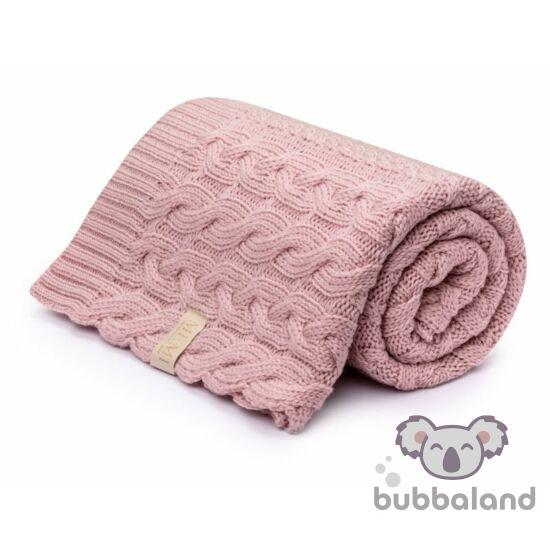 csavart mintás merinó gyapjú baba takaró púder rózsaszín