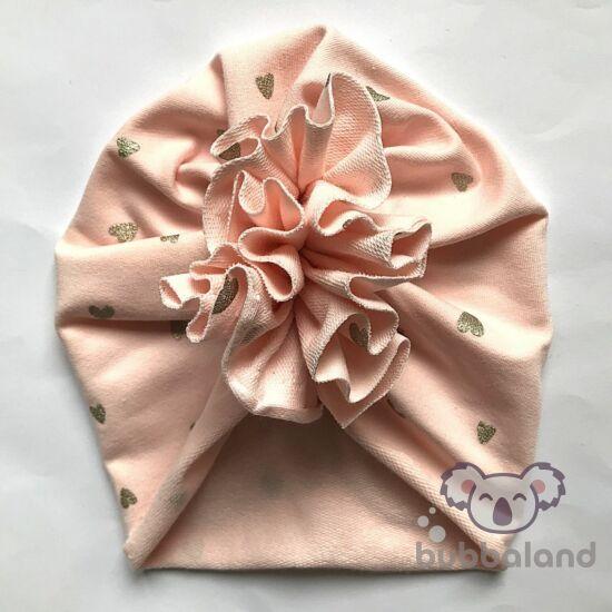 Őszi téli turbán sapka rózsaszín alapon arany szívek XS méret