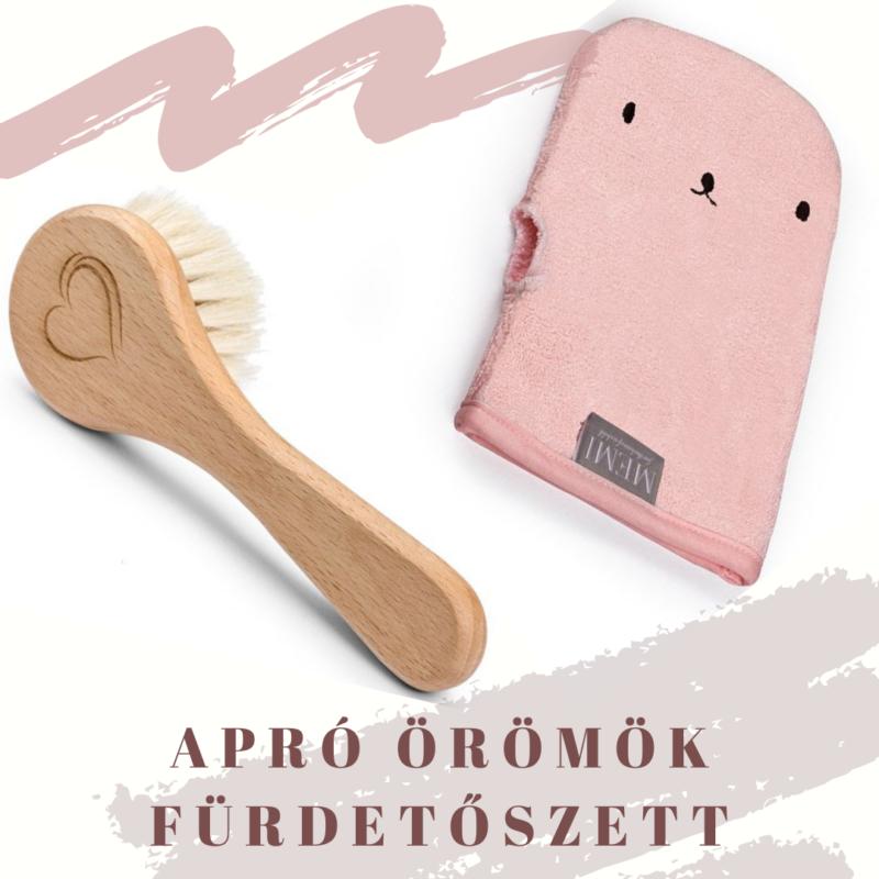 Rózsaszín 2 részes fürdetőszett babalátogató ajándék
