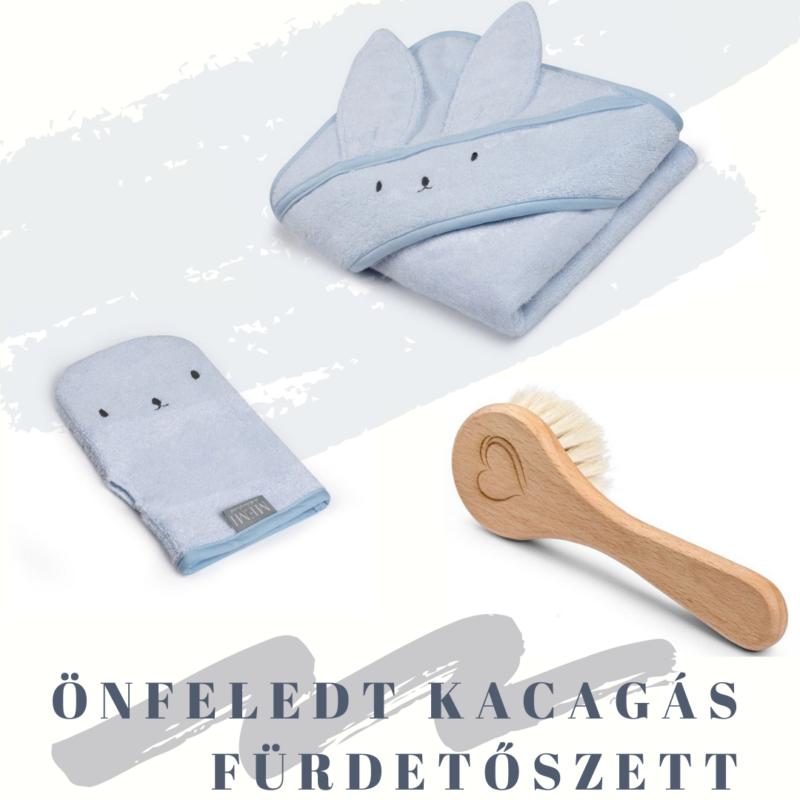 fürdőlepedő mosdatókesztyű és baba hajekfe egy csomagban kék
