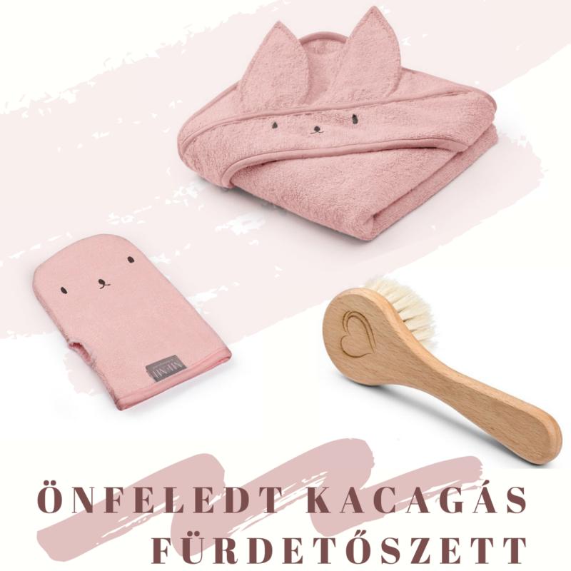 fürdőlepedő mosdatókesztyű és baba hajekfe egy csomagban rózsaszín