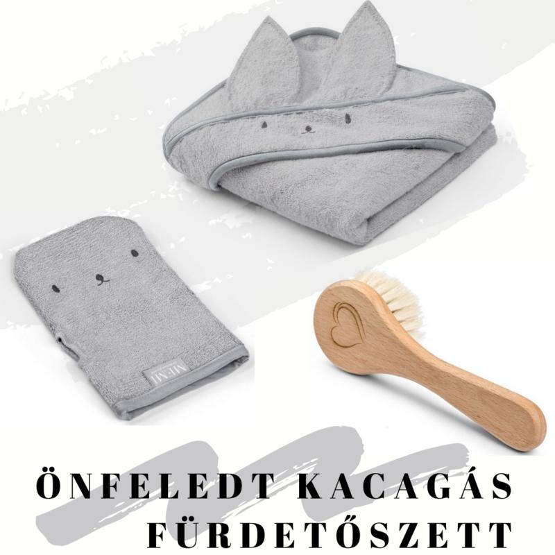 fürdőlepedő mosdatókesztyű és baba hajekfe egy csomagban szürke