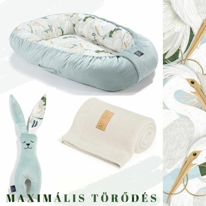 Heron in Lotus Babafészek pamut takaró és nyuszifül szundikendő egy ajándékcsomagban krém és menta színben