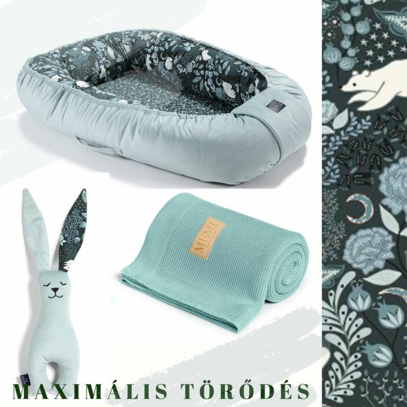 White Magic Babafészek pamut takaró és nyuszifül szundikendő egy ajándékcsomagban menta színben