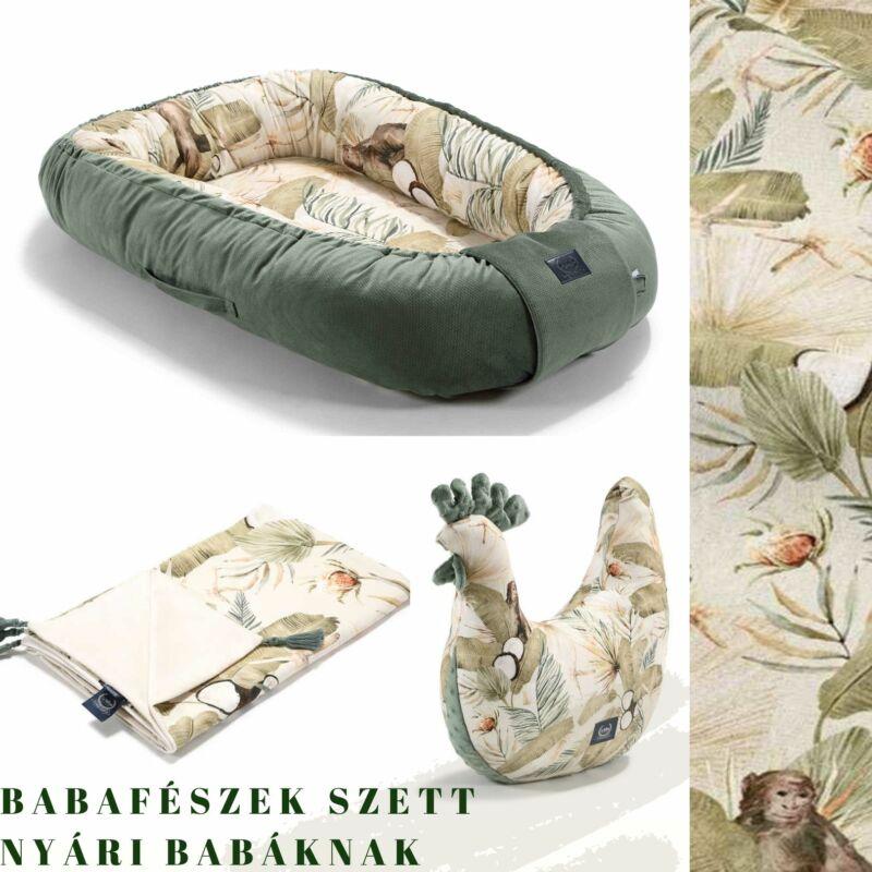 trópusi babafészek szett nyári babáknak pipi szoptatós párnával és vékony tavaszi takaróval khaki-bézs színben Boho Coco