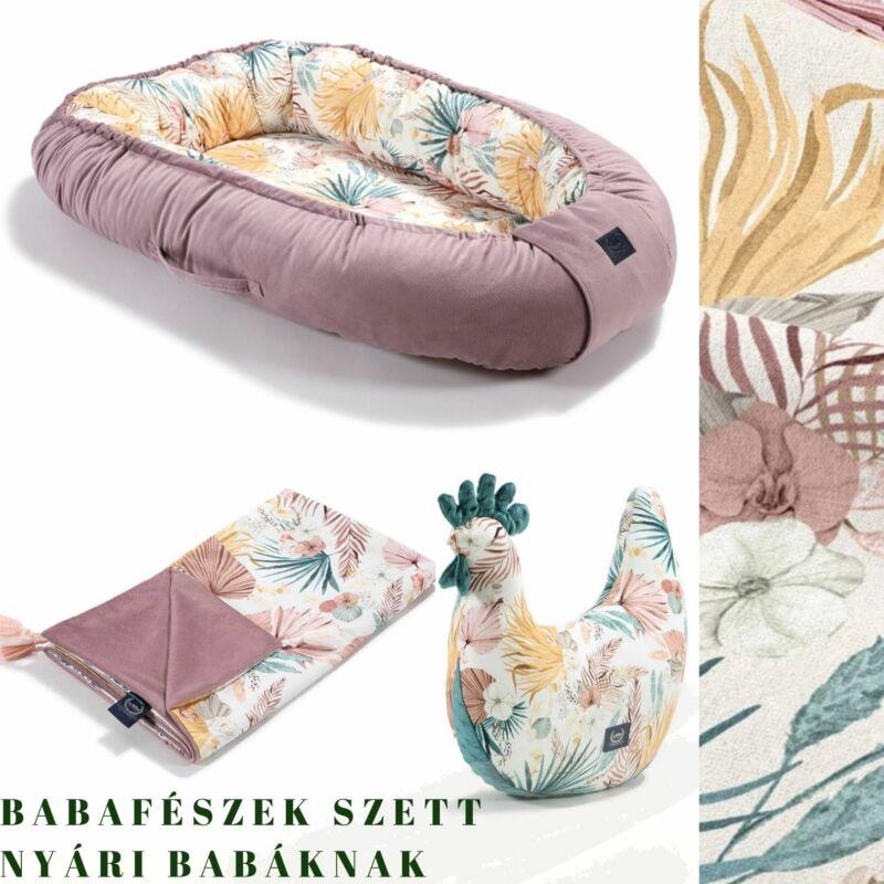 trópusi babafészek szett nyári babáknak pipi szoptatós párnával és vékony tavaszi takaróval khaki-bézs színben Boho Palms Light