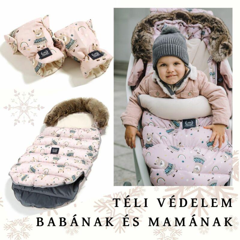 Rainbow baby baba bundazsák rózsaszínben szőrmével a fejrészen